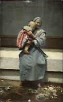 Publ in Shanghai China - Old Chinese Woman w/ Child c1910 Postcard chn