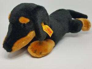 FAO Schwarz Steiff Dachshund Puppy Dog Amierican Kennel Club Black Brown Plush