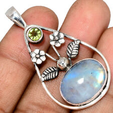 Moonstone - India & Peridot 925 Sterling Silver Pendant Jewelry AP135997 138A