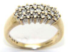 DONNE 9ct 9 carati oro giallo ANELLO FIDANZAMENTO grappolo diamanti misura UK N