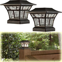 "2-PACK BRONZE SOLAR LED DECK POST CAP LIGHT 4""x4"" 6""x6"" Outdoor Garden Lighting"