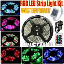 IMPERMEABILE 5m RGB STRISCIA LUCE KIT 300-LED + TELECOMANDO + 12v UK Power Supply SMD3528