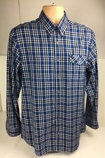 Pierre Cardin Medium Blue Checked Long Sleeved Button Down Collar Shirt Cotton