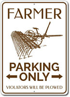 Farmer Parking Sign, Farmer Plow Sign, Gift for Farmer Metal Wall Decor