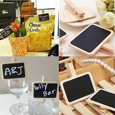 10X Mini Blackboard Chalkboard Labels Holder Message Clip Lolly Buffets Table ww