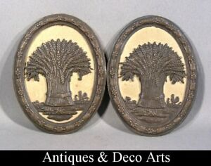 2 Victorian Bronzed Plaques with a Bunch of Ears of Wheat