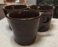 Set Of 3 Matching Vintage MCM Suburbia McCoy USA Pottery Brown Coffee Mugs /Cups