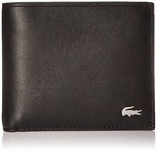 New Lacoste Men's Billfold Credit Card Brown Cow Leather Coin Wallet Key Ring