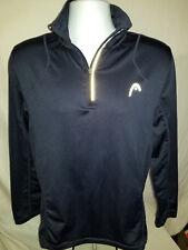 HEAD Tennis 1/4 Zip Black Running Pullover Jersey Shirt Track Jacket Sz S