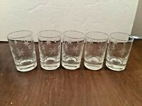 "Set of 5 Vintage Etched Floral Clear Glass Juice Tumblers 3 1/2"" tall"