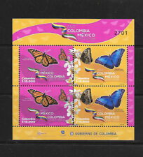 O) 2018 COLOMBIA, COLOMBIA MEXICO UNION OF TWO NATIONS- JOINT ISSUE- BUTTERFLIES