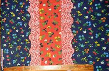 true vintage calico floral border print fabric blue red rockabilly BTY floral