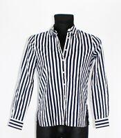 Bluse Alba Moda Freizeit Hemdbluse Baumwolle blau weiß gestreift Gr. 40