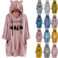 Women Casual Print Cat Ear Hooded Shirt Long Sleeve Pocket Irregular Blouse Top