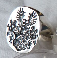 Heraldic Family Crest Signet Ring Silver