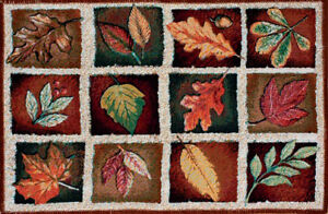 Autumn Reflections Fall Leaves Collage Maple Oak Leaf Tapestry Accent Rug