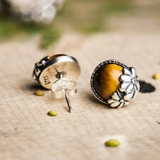 Unique Handcrafted Stud Earring S925 Sterling Inlay Nature Tiger's Eye Stone