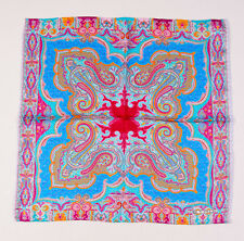 New ETRO MILANO Multi-Paisley Print Silk Pocket Square Blue-Pink-Orange Italy