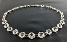 Art Deco Necklace Choker CRYSTAL Open Back Beads Signed NOVOPLATIN