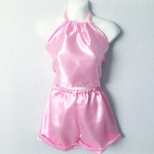 Pink Hand maid Satin Look Top & Short Custom Made Cute Tow Piece Set  Lingerie