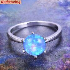 Triumphant Petite Fiery Soft Blue Opal 10kt White Gold Filled Ring Sz 7 - N
