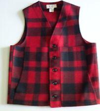 C.C.Filson 100% Virgin Wool Vest Size 38 Black and Red Buffalo Plaid