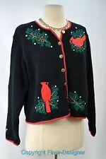 ORVIS ugly CHRISTMAS SWEATER cute knit top cardinal bird cardigan crop M NEW VTG