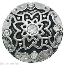 1 Bouton à Pression Click Fleur Strass Pour Bracelet Personnalisé 20mm