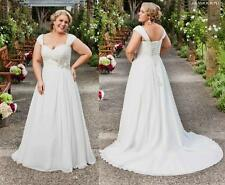 Cap Sleeve Chiffon Wedding Dress Bridal Gown Custom Plus Size 18-20-22-24-26-28+