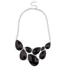 Lux Accessories Faceted Black Teardrop Gemstone Rhinestone Bib Statement Chain