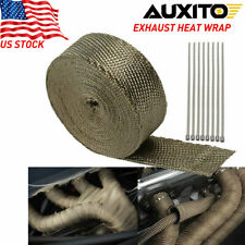 "2"" x50ft Roll Titanium Header Turbo Pipe Manifold Exhaust Heat Wrap Tape 10 Ties"