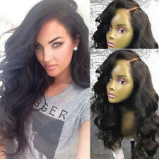 100% Real Human Hair! Glueless Volle Perücke Spitze Vorne Wig Gewellt Echthaar p