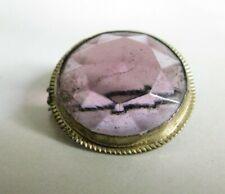 Antique Amethyst Glass Pressed Brass Button Pin Brooch