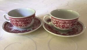 2 Tassen  mit Untertassen Villeroy & Boch Fasan rot