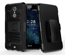 For LG Aristo 2 (MetroPCS)Hybrid Armor Holster Clip Protector Case Black