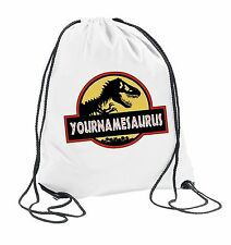 YOURNAMESAURUS - Kids Dinosaur Jurrasic Park Drawstring Bag School Personalised