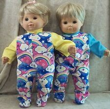 """Doll Clothes Baby Made 2 Fit American Girl Boy 15"""" Twins Pajamas Bitty Rainbow"""