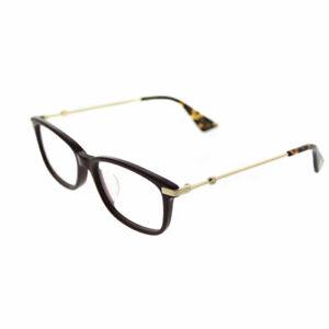Gucci GG0112OA 005 Burgundy Gold Plastic Rectangle Eyeglasses 53mm