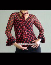 Black red polka dots flamenco dance top S M L, ballroom, waltz, salsa  blouse