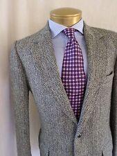 HARRIS TWEED black white gray salt pepper herringbone wool blazer jacket 38L