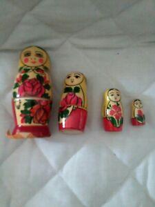 Vintage Russian Dolls Matryoshka Nesting 4 set with Label