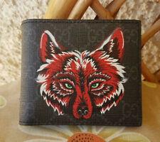 Gucci Dark Grey Supreme Wolf Animal Bifold Mens Wallet - Card Wallet
