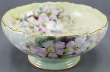 "T & V Limoges Hand Painted Pink Wild Roses 9 1/2 "" Punch Bowl Circa 1907 - 1919"