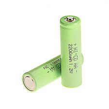 2 piezas AA 1.2v 2200mAh Ni-CD batería recargable, Verde