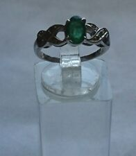 JEWELLERY 925 Sterling Silver Emerald and Zircon Ring