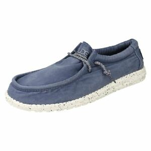 Mens Hey Dude Wally Washed Steel Blue Canvas Casual Lace Up Shoes