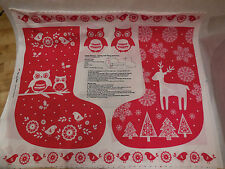 Christmas Boot Themes Cotton Red & white Fabric for decor DIY sold by110x90cm