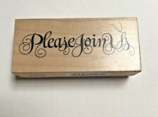 """PSX RUBBER STAMP 1997 """"PLEASE JOIN US"""" F-2258 Fancy Script, Calligraphy"""