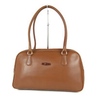Auth LONGCHAMP Logos Bamboo Leather Shoulder Hand Bag France F/S 15218b
