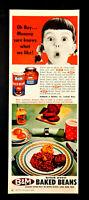 Vtg 1960 B & M brick oven baked beans little girl advertisement print ad